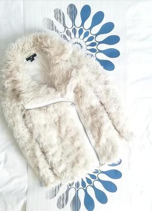 Белая шубка h&m косуха шуба пушистая біла ламу молочная пальто искусственная оверсайз2