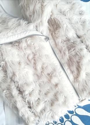 Белая шубка h&m косуха шуба пушистая біла ламу молочная пальто искусственная оверсайз3