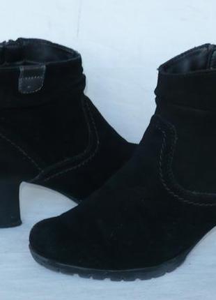 Jana тёплые мягкие удобные полусапожки сапоги ботинки натуральная замша германия1