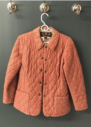 Оригинал barbour стёганая коралловая розовая куртка на кнопках большой размер1