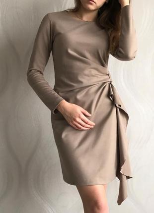 Sale -100грн!!! бежевое стильное платье с длинным рукавом итальянский бренд2