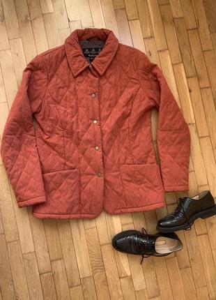 Оригинал barbour стёганая коралловая розовая куртка на кнопках большой размер2
