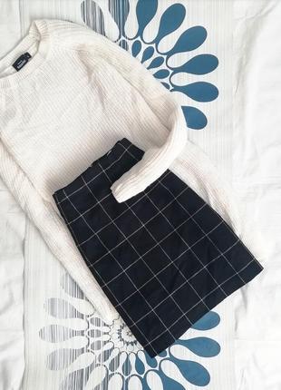 Шерстяная юбка dorothy perkins мини трапеция в клетку клетчатая черная синяя синя спідниця1