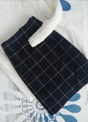 Шерстяная юбка dorothy perkins мини трапеция в клетку клетчатая черная синяя синя спідниця2