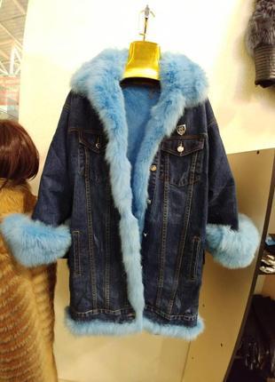 Парка джинсовая с мехом кролика куртка джинсовая утеплённая с мехом песца чернобурки1