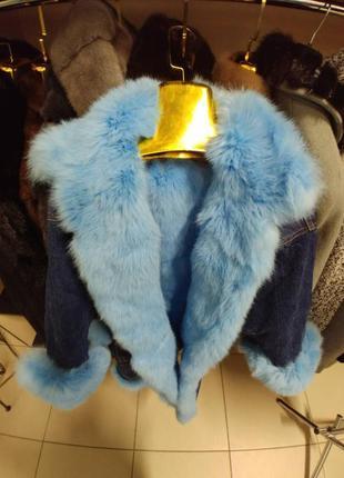 Парка джинсовая с мехом кролика куртка джинсовая утеплённая с мехом песца чернобурки2