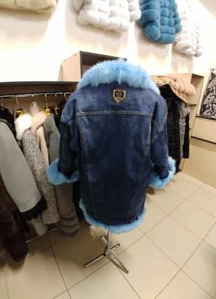 Парка джинсовая с мехом кролика куртка джинсовая утеплённая с мехом песца чернобурки3