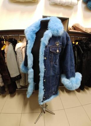 Парка джинсовая с мехом кролика куртка джинсовая утеплённая с мехом песца чернобурки4