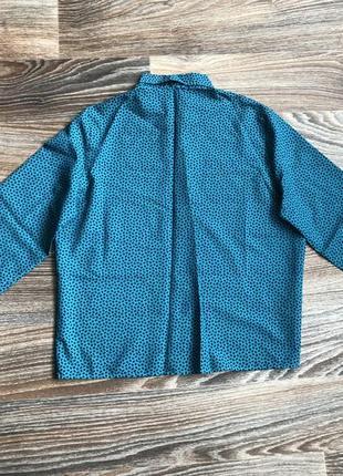 Стильная модная темно бирюзовая классическая рубашка в горошек блузка блуза3