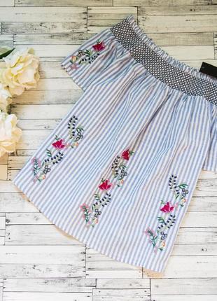 Котоновая блуза с вышивкой в полоску dorothy perkins1