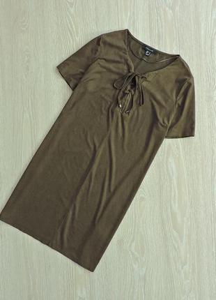 Шикарное платье под замш со шнуровкой на груди,платье цвета хаки,туника,прямое платье1