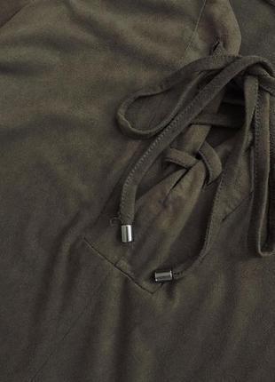 Шикарное платье под замш со шнуровкой на груди,платье цвета хаки,туника,прямое платье3