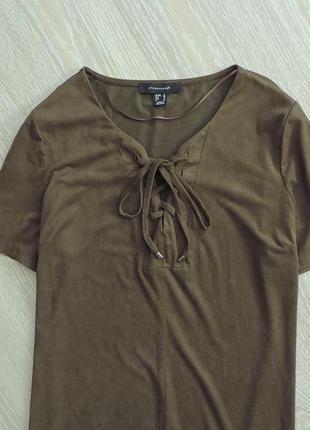 Шикарное платье под замш со шнуровкой на груди,платье цвета хаки,туника,прямое платье2