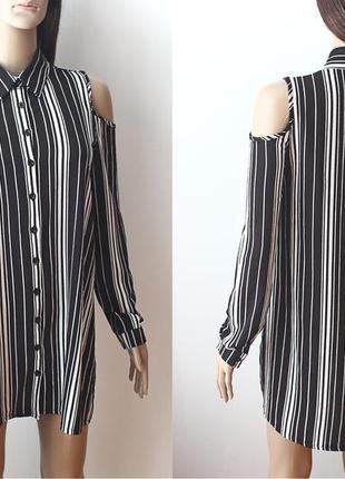 Удлиненная рубашка с открытыми плечами  • р-р s2