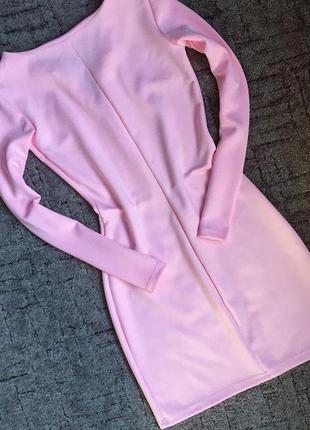 Нежно-розовой платье с молнией на декольте3