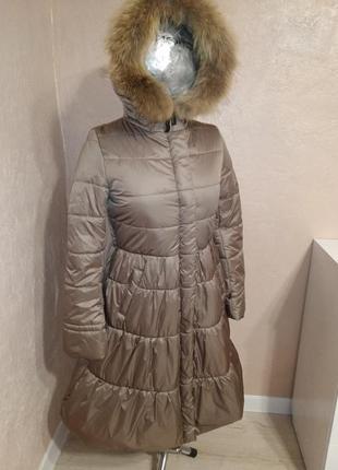 Зимнее пальто с натуральным мехом енота 44-50р бежевое1