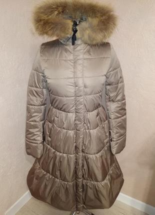 Зимнее пальто с натуральным мехом енота 44-50р бежевое2
