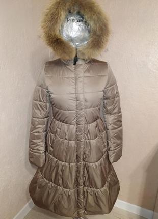 Зимнее пальто с натуральным мехом енота 44-50р бежевое5
