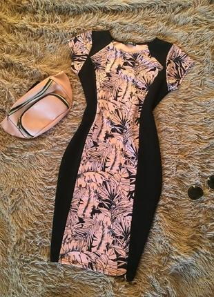 Супер цена!восхитительное платье-миди,принт «тропики» 8 размер
