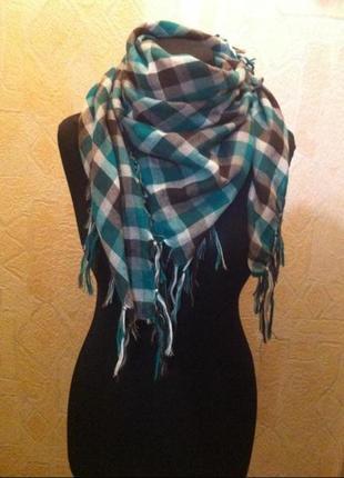 Шарф,  платок,  клетчатый шарф4