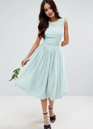 Платье миди с присборенной вставкой asos1