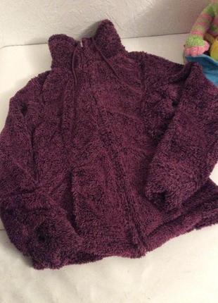 Тёплая плюшевая кофта teddyfleecejacke р.48 цвет ягодный3