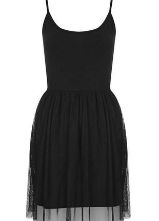 Чёрное платье с евросеткой фатиновой юбкой topshop размер 36 (s)4