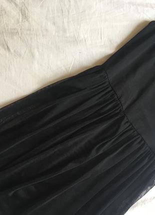 Чёрное платье с евросеткой фатиновой юбкой topshop размер 36 (s)2