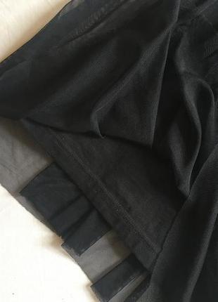 Чёрное платье с евросеткой фатиновой юбкой topshop размер 36 (s)5