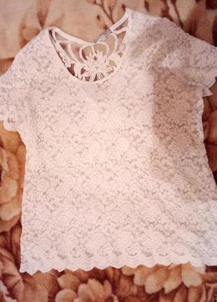 Кружевная стрейчевая блуза-футболка