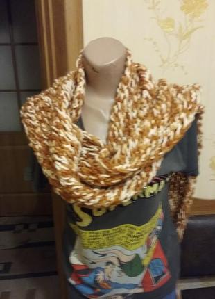 Тёплый шарф рыжий1