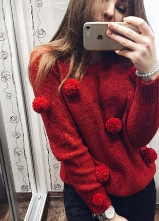 Свитер красный тёплый зимний/ с помпонами/ трендовый супер свитер1