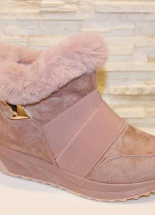 Ботиночки женские зимние пудра код с7032