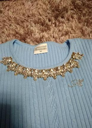 Новый свитер кофта кофточка с колье камнями турция хлопок теплый2