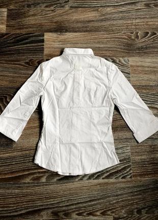 Красивая белая хлопковая классическая рубашка с отворотами блузка блуза2
