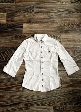 Красивая белая хлопковая классическая рубашка с отворотами блузка блуза1