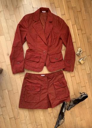 Красный костюм max&co линия max mara юбка пиджак вельвет вельветовый1