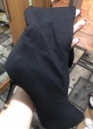 Изысканные сапоги ботфорты чулки тканевые4
