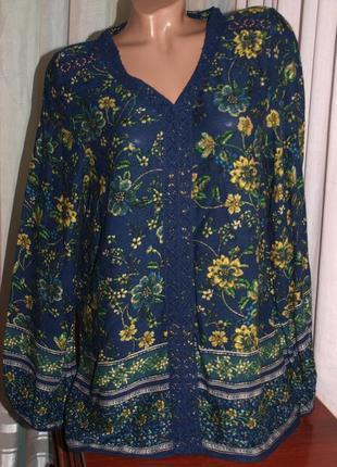 Шикарная блуза (л замеры) натур. состав, с узором, превосходно смотрится1