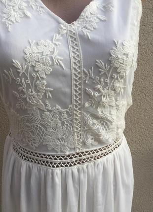 Белое,вечернее,нарядное платье,можно фотосессия ,сарафан,кружево,вышивка3