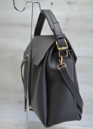 Серая женская молодежная сумка с короткими ручками саквояж из экокожи2