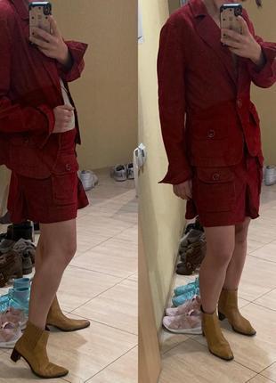 Красный костюм max&co линия max mara юбка пиджак вельвет вельветовый4
