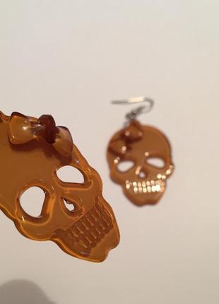 Серьги черепа с бантиком)4