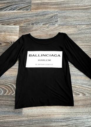 Черная футболка блузка блуза с длинным рукавом лонгслив с надписью белого цвета1