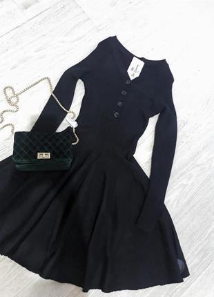 Стильное теплое трикотажное платье3