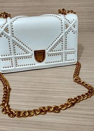 Белая сумка, клатч в стиле диор диорама