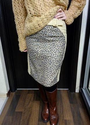 Миди юбка на сезон осень - зима виз мягкой ткани в актуальный леопардовый принт2