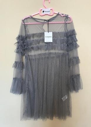Платье мини из тюля с оборками glamorous petite4