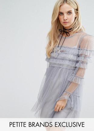 Платье мини из тюля с оборками glamorous petite3