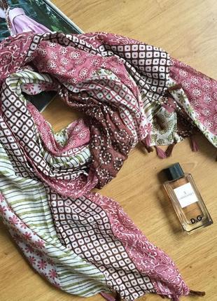 Классный нежный большой шарф палантин платок 100% котон1